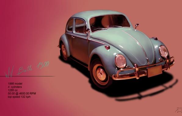 Картинка жук, Volkswagen, фольксваген, 1966, Beetle, битл