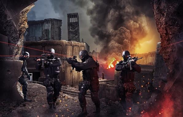 Картинка пламя, атака, дым, лазер, Отряд