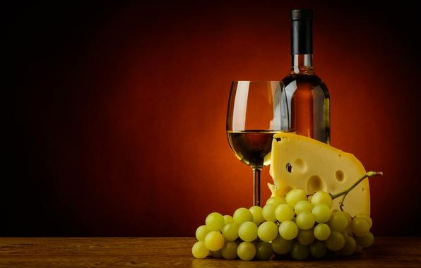 Картинка фон, вино, бокал, бутылка, сыр, виноград