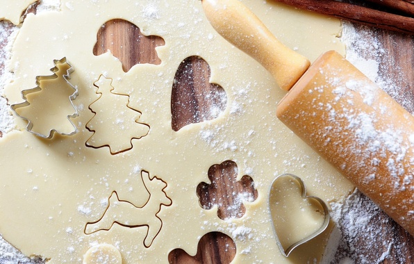 Картинка Новый Год, печенье, Рождество, Happy New Year, десерт, выпечка, Merry Christmas, тесто, новогоднее, формочки, rolling …
