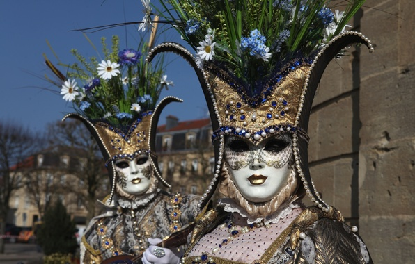 Картинка цветы, маска, пара, костюм, Венеция, карнавал