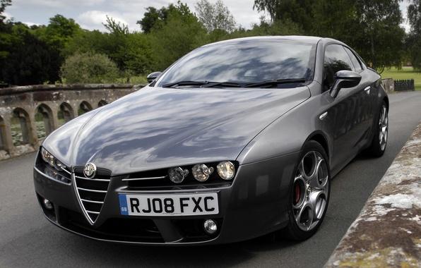 Картинка фары, капот, Alfa Romeo, автомобиль, красивый, передок, Brera S
