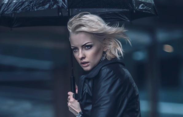 Фото обои зонт, ветер, девушка, дождь