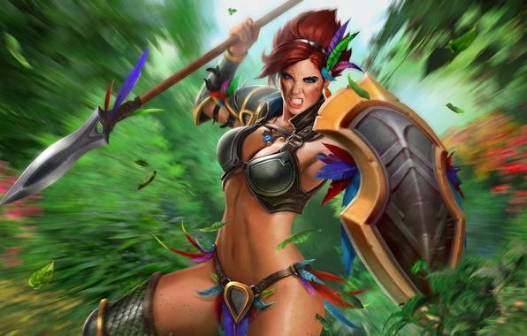 Картинка девушка, игра, щит, копьё, амазонка, Juggernaut Wars, Амазонка Геката