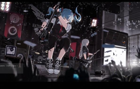 Картинка девушка, знак, гитара, группа, аниме, руки, арт, концерт, vocaloid, hatsune miku, mivit
