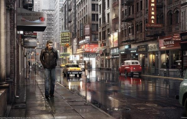 Картинка дорога, авто, машины, город, улица, парень, Dennis Kaya