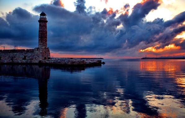 Картинка небо, облака, закат, отражение, маяк