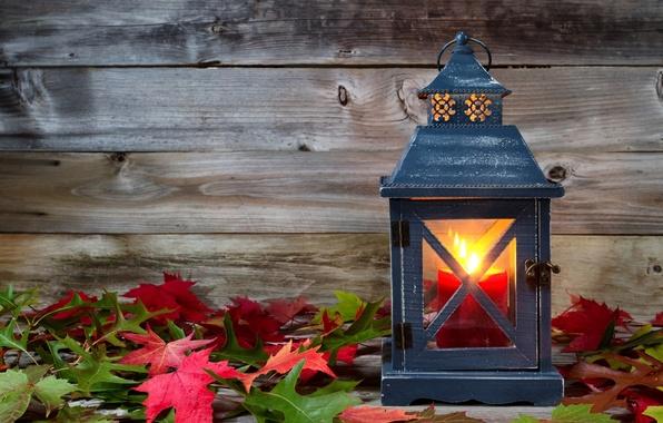 Картинка осень, листья, свечи