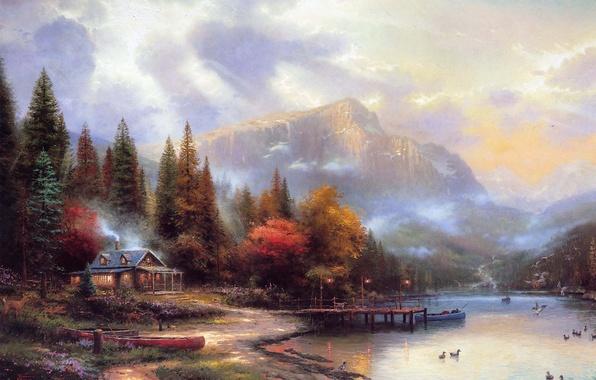 Картинка осень, горы, дом, река, живопись, Thomas Kinkade