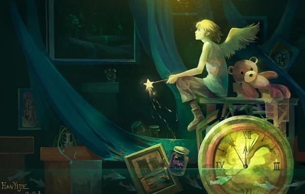 Картинка вода, свет, рыбы, цветы, часы, крылья, картина, аниме, медведь, арт, банка, ваза, парень, палочка, звездочка, …