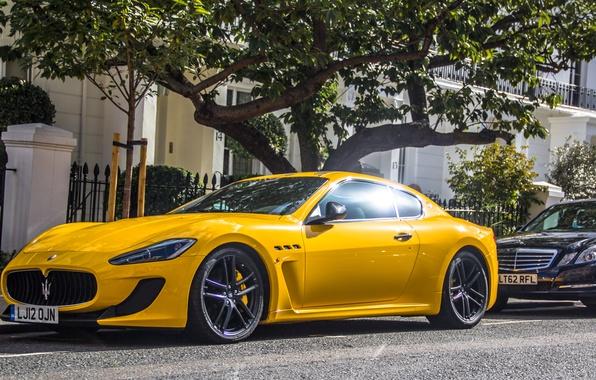 Картинка желтый, Maserati, суперкар, yellow, мазерати, granturismo, грантуризмо