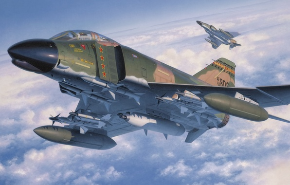Картинка fighter, war, art, painting, aviation, jet, McDonnell Douglas F-4 Phantom II