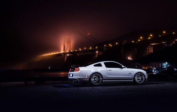 Картинка Mustang, Ford, Muscle, Car, Bridge, White, Collection, Aristo, Rear, Nigth, Smog
