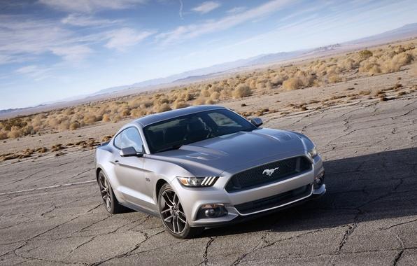 Картинка Mustang, Ford, горизонт, Форд, Мустанг, передок, Muscle car, Мускул кар