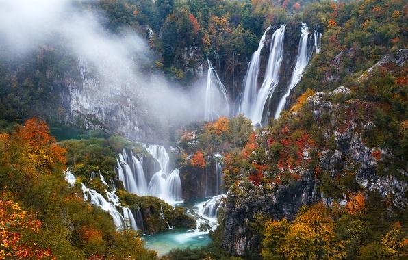Фото обои осень, деревья, скалы, водопады, Хорватия, Plitvice