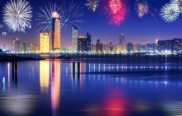 Картинка небо, ночь, огни, река, праздник, новый год, красота, небоскребы, салют, Дубай, набережная, ОАЭ