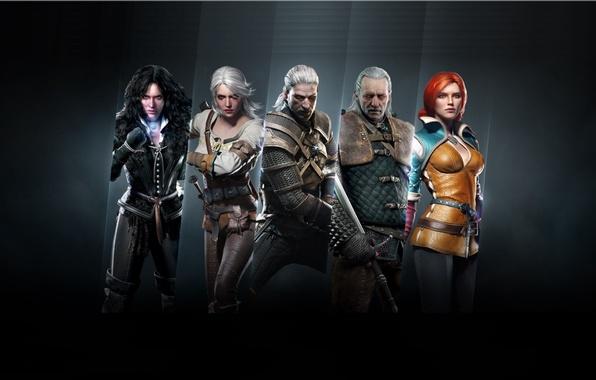 Картинка меч, доспехи, команда, Дикая Охота, Арт, Ведьмак, Геральт, главные герои, CD Projekt RED, The Witcher …