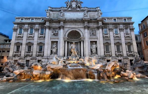 Картинка вода, огни, вечер, фонтан, скульптура, италия, рим, Треви