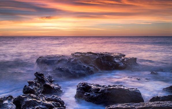Картинка море, вода, закат, камни, булыжники