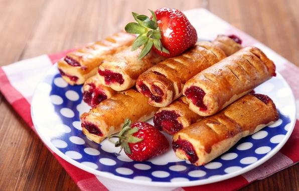 Картинка сладость, еда, печенье, клубника, выпечка, джем, sweet, трубочки, варенье