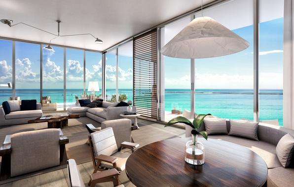 Картинка пейзаж, стол, комната, окна, интерьер, кресла, столик, диваны, interior, подушки., desigen, living room beach, residences