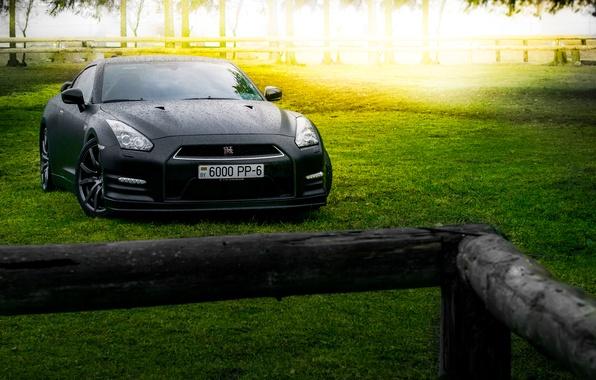 Картинка GTR, Japan, Nissan, Car, Front, Black, Sun, Matte, R35, Sport, Summer, Forest, Farm
