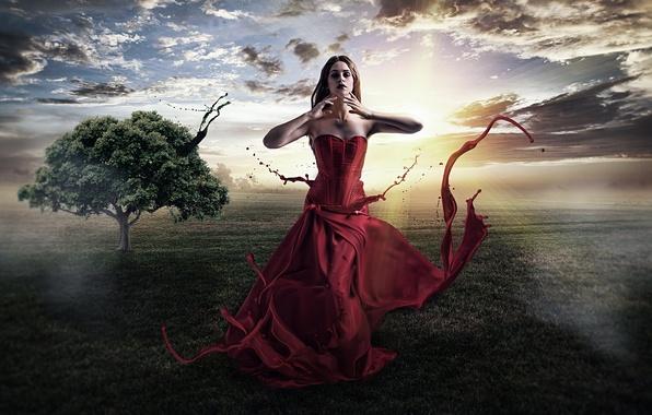 Картинка зелень, девушка, солнце, облака, лучи, пейзаж, природа, фон, фантастика, дерево, магия, платье, брюнетка, Painting