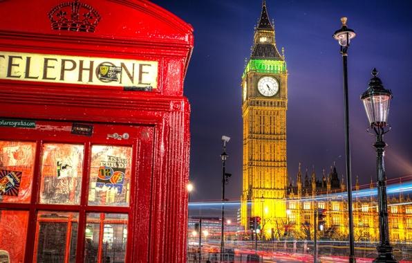 Картинка дорога, ночь, город, Англия, Лондон, выдержка, освещение, фонарь, Великобритания, Биг-Бен, будка, телефонная, Вестминстерский дворец, London, …