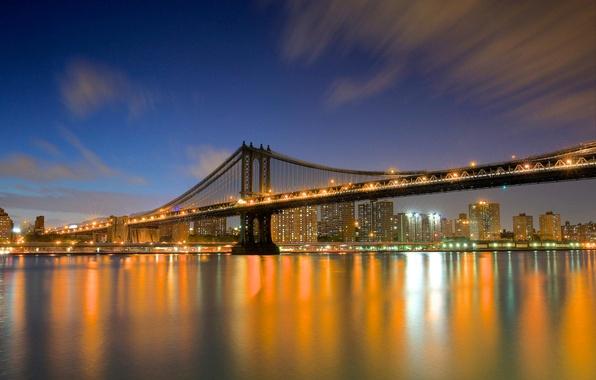 Картинка мост, город, огни, река, здания, дома, Нью-Йорк, небоскребы, вечер, USA, США, New York, NYC, New …