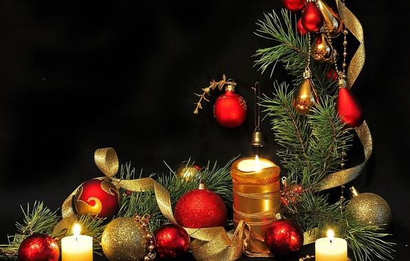 Картинка шары, обои, игрушки, елка, рождество, свечи, Новый год, New Year