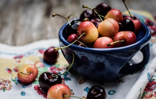Картинка ягоды, чашка, черешня
