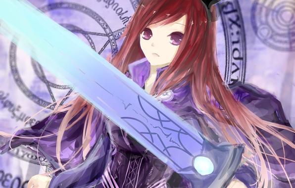 Картинка девушка, оружие, меч, аниме, арт, ушки, fairy tail, сказка о хвосте феи, erza scarlet, jomill
