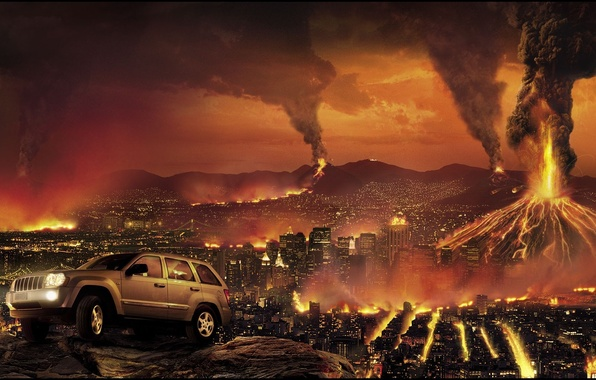Картинка город, огонь, апокалипсис, здания, разрушения, джип, вулканы, автомобиль, jeep, grand cherokee