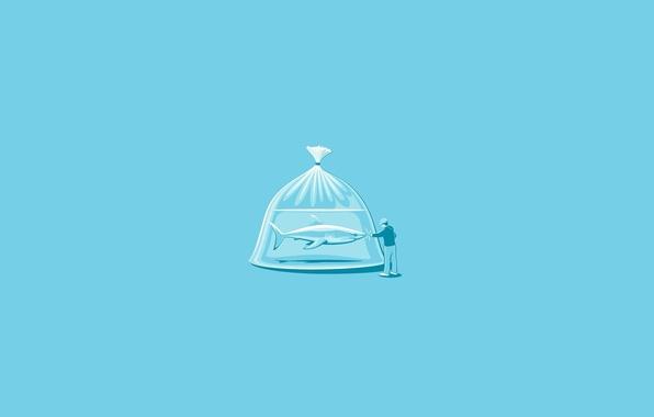 Картинка Минимализм, Человек, Юмор, Акула, Пакет, Shark, Арт, Art, Package, Minimalism, Man, Humor, Glenn Jones (Glennz)