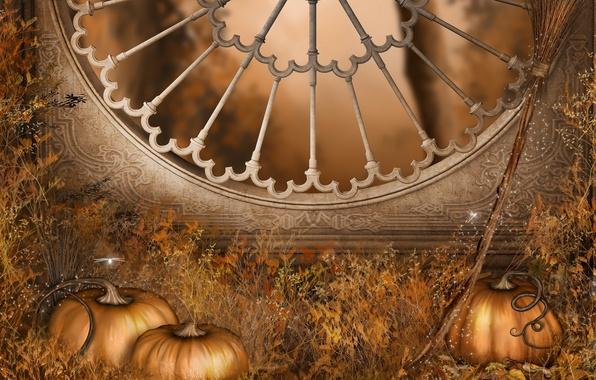 Картинка осень, праздник, окно, тыквы, Halloween, Хэллоуин, метла, autumn, window, holiday, pumpkins, Gothic architecture, готическая архитектура, …