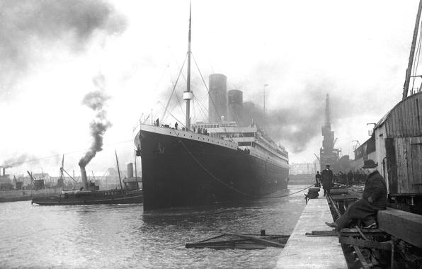 Картинка ретро, обои, корабль, пристань, порт, пароход, Титаник, лайнер, британский, снимок, Titanic, пассажирский, RMS