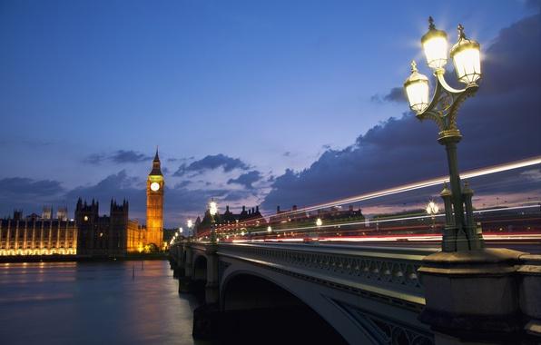 Картинка небо, облака, тучи, мост, город, огни, река, Англия, Лондон, вечер, выдержка, освещение, фонари, трафик, Великобритания, …
