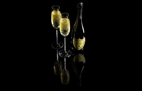 Картинка отражения, бутылка, арт, Напиток, черный фон, Шампанское, бакалы