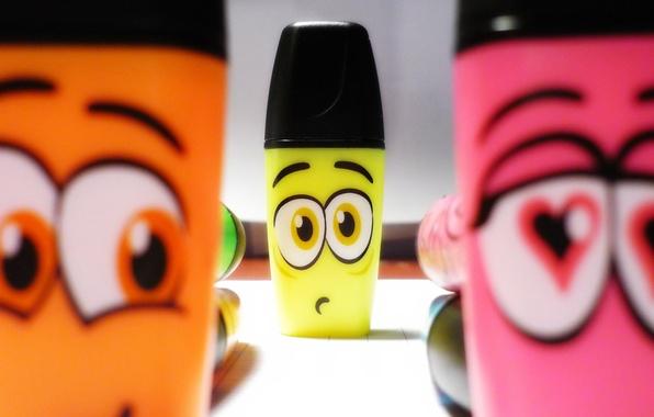 Картинка глаза, цвета, сердце, мультфильмы, heart, eyes, cartoon, funny, смешные, Pen colors, карандашей