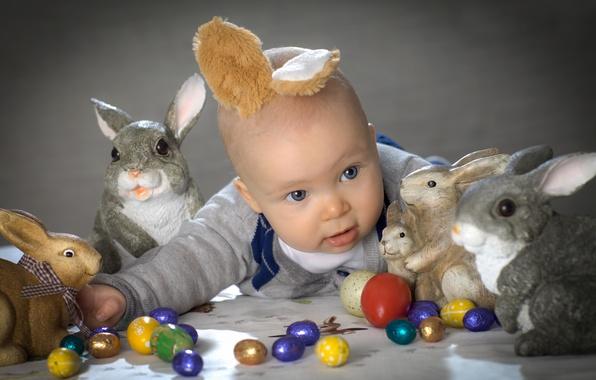 Картинка пасха, кролики, зайцы, ушки, ребёнок, пасхальные яйца, Happy Easter