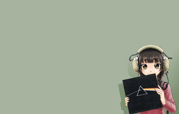 Картинка Девушка, Наушники, Пластинка, Pink Floyd, Аниме, Anime, Темная Сторона Луны, Дисперсия света, The Dark Side …