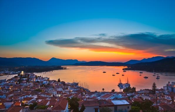 Картинка city, lights, evening, buildings, homes, Santorini, Oia, Greece, dome, church, Aegean Sea