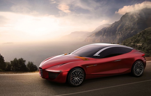 Картинка Concept, Alfa Romeo, Red, Car, Gloria, Road