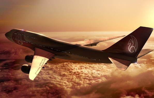 Картинка Закат, Солнце, Небо, Облака, Самолет, Полет, Лучи, Boeing, Высота, Боинг, 747