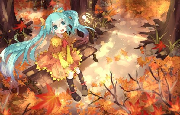 Картинка осень, листья, девушка, радость, магия, аниме, арт, vocaloid, hatsune miku, sen ya