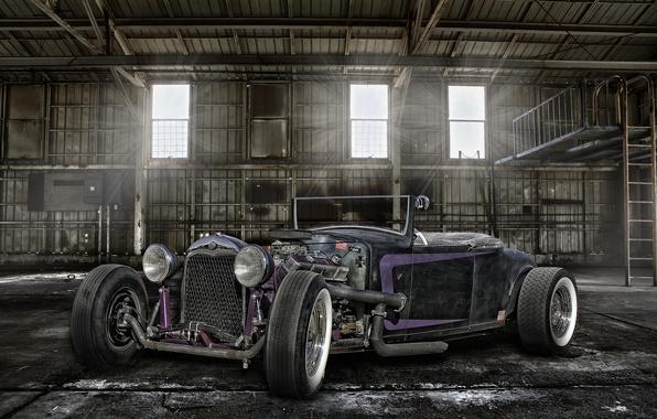 Картинка ретро, ангар, классика, передок, hot-rod, classic car
