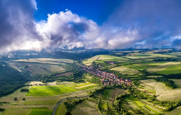 Картинка облака, деревья, поля, дома, Чехия, панорама, Bystrice Pod Lopenikem