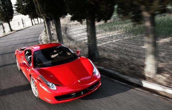 Картинка Красный, Авто, Дорога, Феррари, Асфальт, Капот, Ferrari, 458, Italia, Передок, Спорткар, В Движении