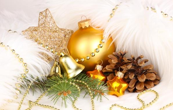 Картинка звезды, украшения, игрушки, шар, Новый Год, Рождество, золотой, колокольчики, Christmas, шишки, праздники, New Year, елочные