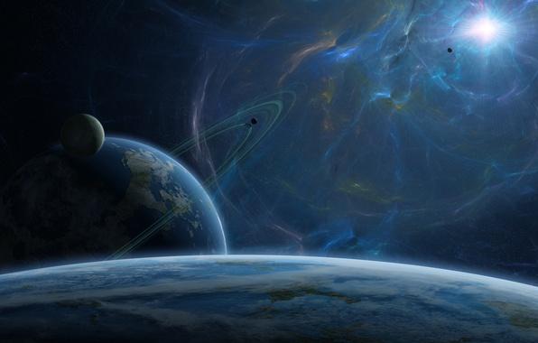 Картинка солнце, звезды, планеты, кольца, спутники